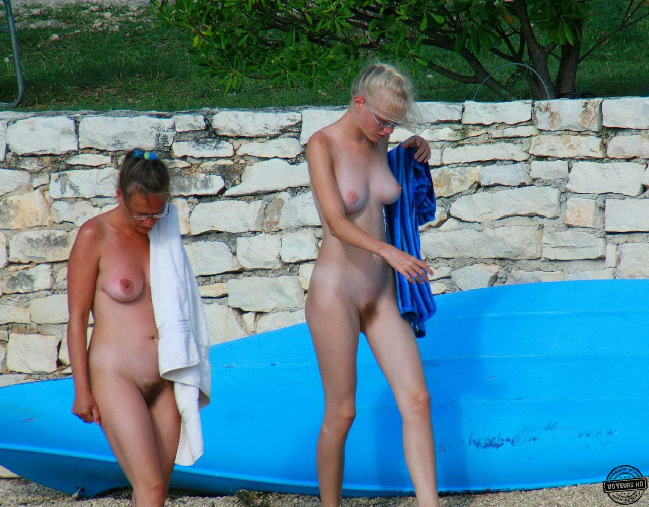Naked mother and daughter