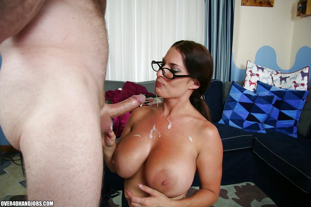 Hot brunette milf with big tits sucks cock
